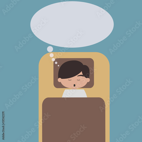 Sleeping man with speech bubble