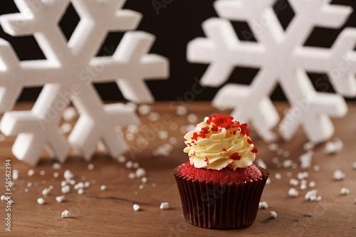 Red velvet cupcake on Christmas background