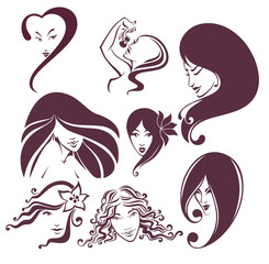 large vector collection of beautiful woman faces