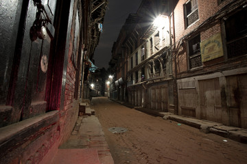 Empty street at night in the old city of Bhaktapur