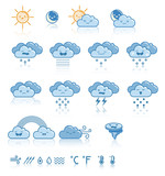 Set of weather blue icons