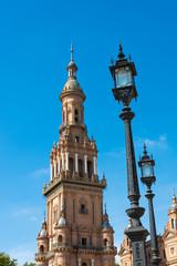 Clock tower Seville Spain Plaza de Espana