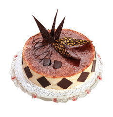 Cream cake with chocolate on the white background