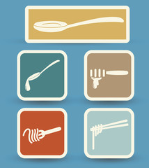 fork and spoon and chopsticks icons