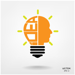 Creative light bulb,head symbol, Business and ideas concepts.
