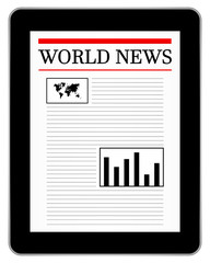 Black Business Tablet Showing World News