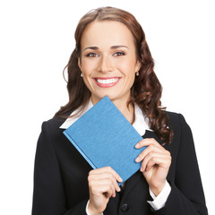 Businesswoman with organizer, isolated on white
