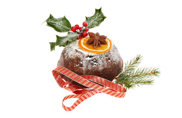 Decorated Christmas pudding