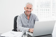 Smiling mature businessman using laptop at desk in office