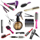 Fototapety Collage of hairdressing tools isolated on white