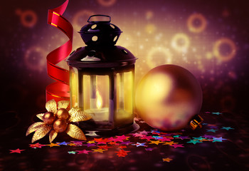 magic lantern and Christmas decorations on abstract background