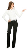 Businesswoman showing something, isolated
