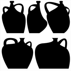 decorative vases icons isolated on white background