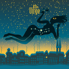 Virgo sign in the starry sky night city