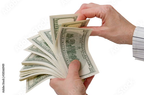 Woman's hands with a hundred-dollar bills
