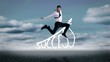 Handsome businessman jumping in front of success graphic