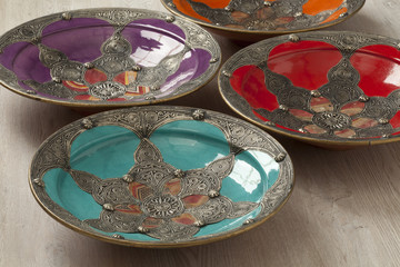 Traditional Moroccan decorated bowls
