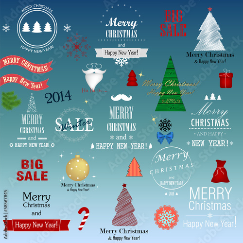 Set of vector Christmas elements