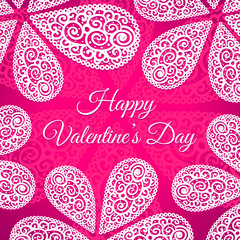 Happy Valentines Day. Vector doodle twirls background