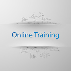 "Education concept: inscription: ""Online training"" with formulas"