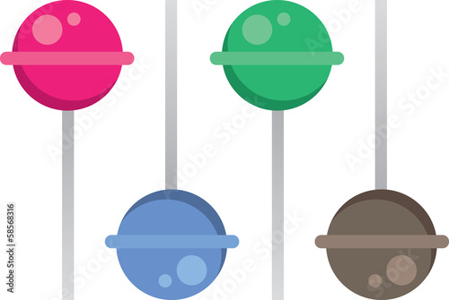 Different colored and flavored lollipops