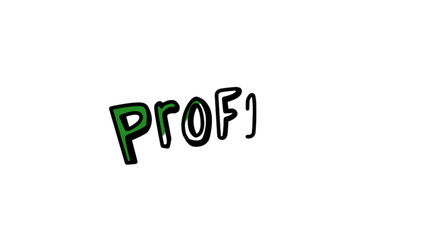 Animation of the word profit gestating slowly