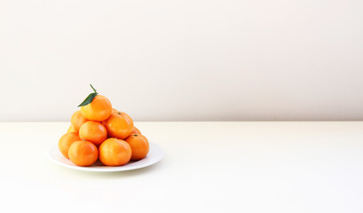 Mandarins on the white table