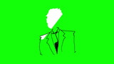 Animation of slowly appearing painted businessman