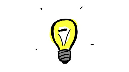 Animation of yellow light bulb