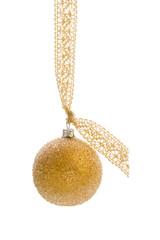 Einzelne goldene Christbaumkugel