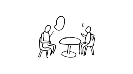 Animation of slowly appearing people chatting sitting at desk