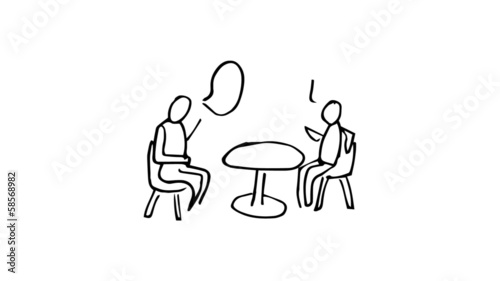 Animation of slowly appearing painted people sitting at desk