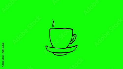 Animation of slowly appearing painted mug