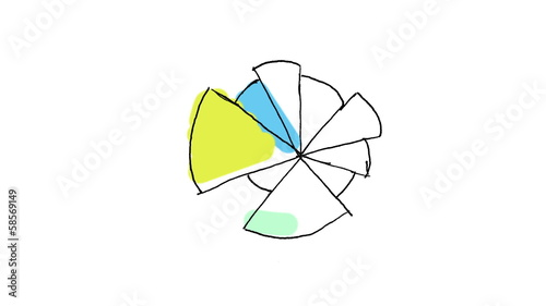 Animation of abstract colourful pie chart