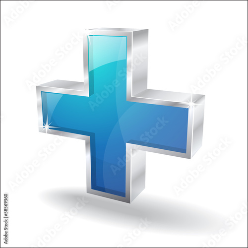 3d Glossy Plus Vector Icon