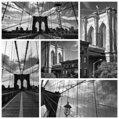Collage Pont de Brooklyn noir et blanc - USA