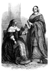 French Queen Anne of Austria & Mazarin - 17th century