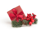 little red present with ribbon and mistletoe