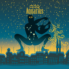 Aquarius sign in the starry sky night city