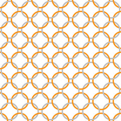 Orange, Gray and White Interlaced Circles Textured Fabric Backgr