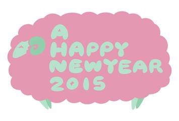 年賀状2015『ピンク(HAPPY NEW YEAR)』