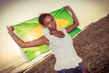 portrait of brazilian girl with flag