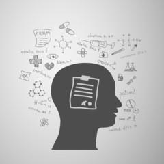 human head silhouette with medicine formulas