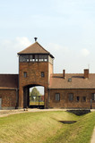 infamous iconic train entry gate building Birkenau German Nazi C