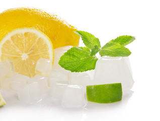 Lemon, slices of a juicy lime, mint and ice cube