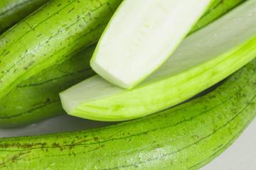 Stack of fresh organic luffa squash