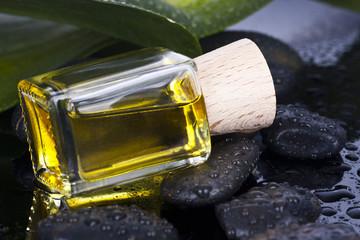bottle of massage oil spa