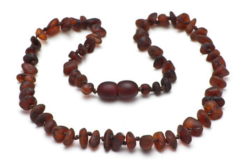 Baltic amber necklace, dark brown model