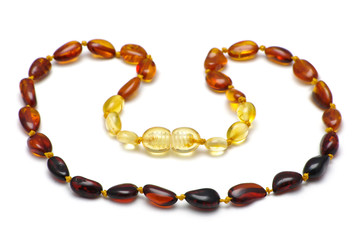 Baltic amber baby necklace, rainbow model