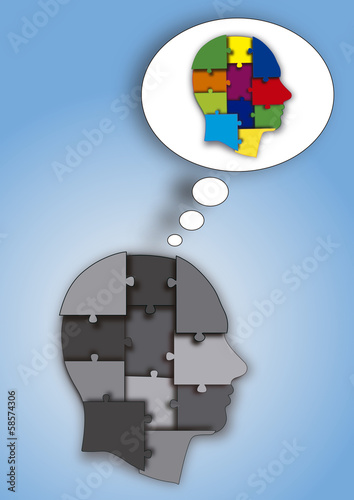 CABEZA PUZZLE GRIS COLOR